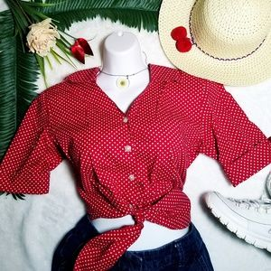 Vintage Rockabilly Polka Dot Blouse Crop Top
